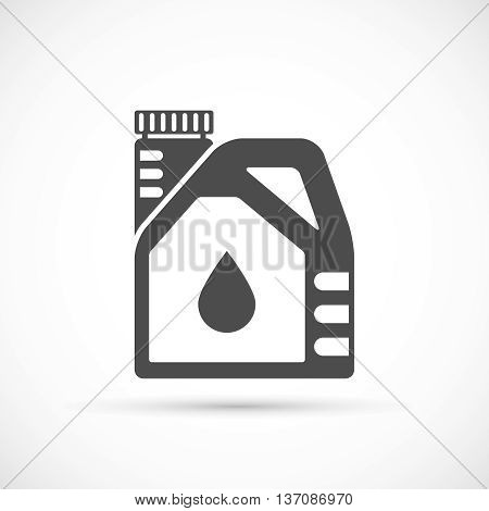 Engine oil icon. Plactic canister with car motor oil