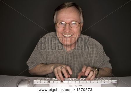 Happy Man Viewing Computer