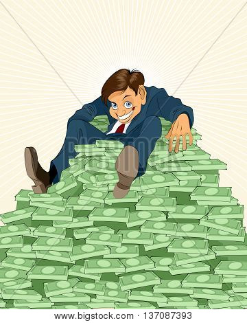 Vector illustration of a lucky businessman with money