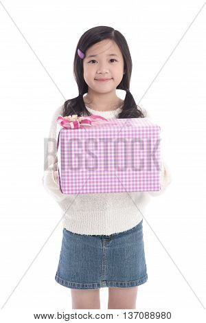 Beautiful asian girl giving a present on whit background isolated