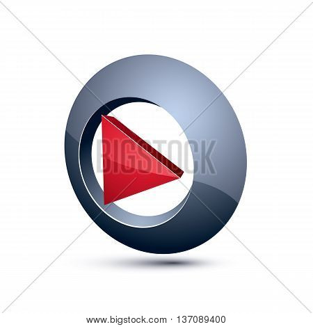 Three-dimensional Play Sign. 3D Vector Push Button, Multimedia Arrow Symbol Isolated On White Backgr