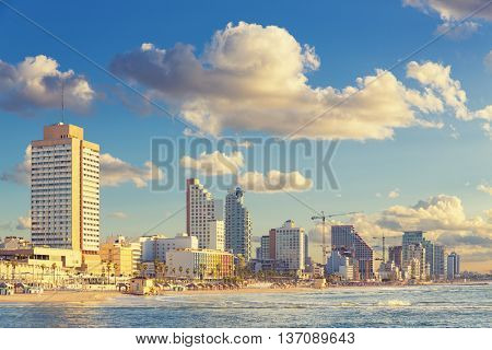 Tel Aviv Beach At Sunset - Cityscape View