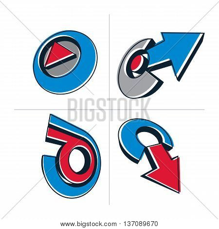 Set Of Three-dimensional Abstract Icons, Play Sign, Special Arrows. 3D Vector Push Button, Multimedi