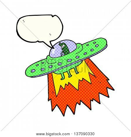 freehand drawn comic book speech bubble cartoon ufo