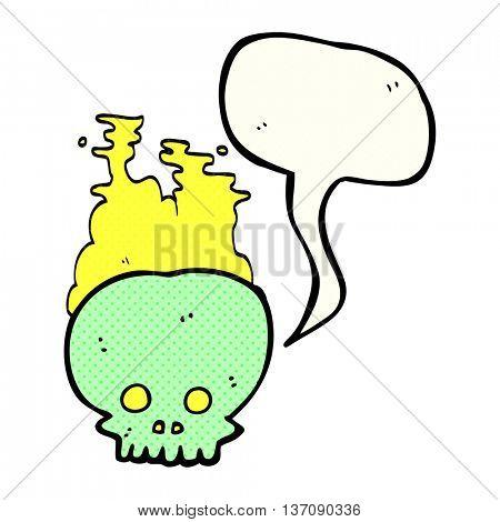 freehand drawn comic book speech bubble cartoon steaming skull