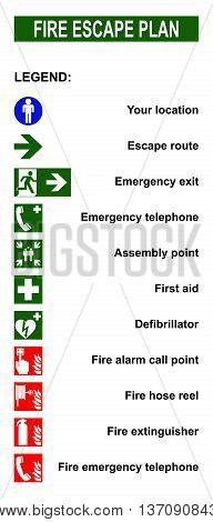 Set of symbols for fire escape evacuation plans. Legend with location escape route emergency exit telephone assembly point first aid defibrillator fire alarm call point fire hose reel extinguisher