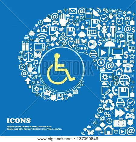 Disabled Sign Symbol. Nice Set Of Beautiful Icons Twisted Spiral Into The Center Of One Large Icon.