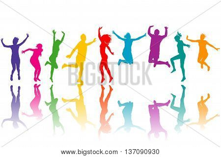 Set of colorful silhouettes jumping over white background
