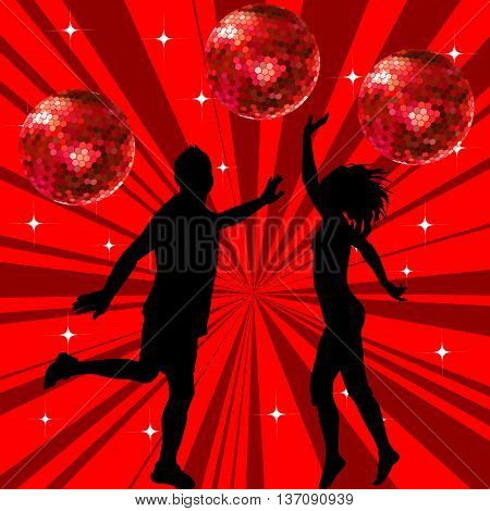 Silhouettes of a men and a woman dancing