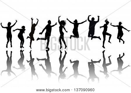 Silhouettes of women and men jumping on white background