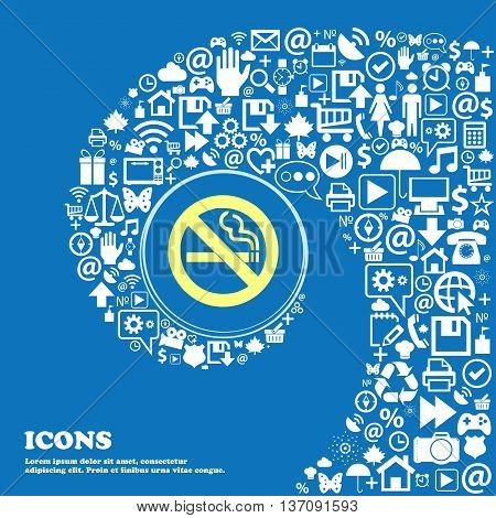 No Smoking Sign Symbol. Nice Set Of Beautiful Icons Twisted Spiral Into The Center Of One Large Icon