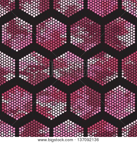 Pattern honeycomb texture Hexagon-vector illustration. Pink and white color. Dots ornament. Camo.