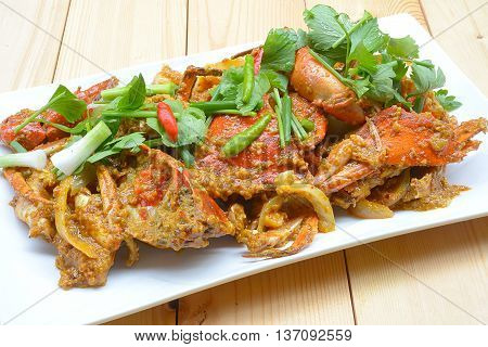 close up Fried crab in yellow curry.