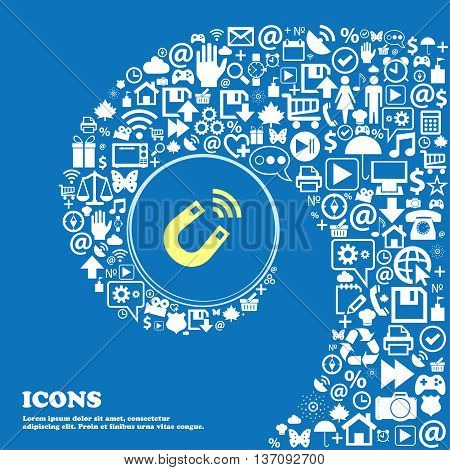 Magnet Sign Symbol. Nice Set Of Beautiful Icons Twisted Spiral Into The Center Of One Large Icon. Ve