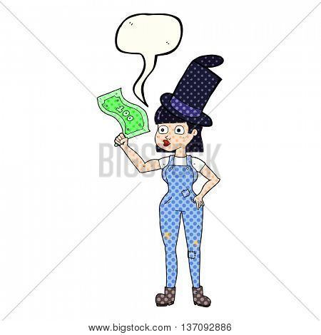 freehand drawn comic book speech bubble cartoon woman holding on to money
