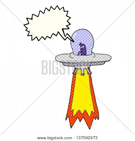 freehand drawn comic book speech bubble cartoon flying saucer