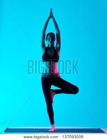 woman Vriksasana yoga exercices tree pose