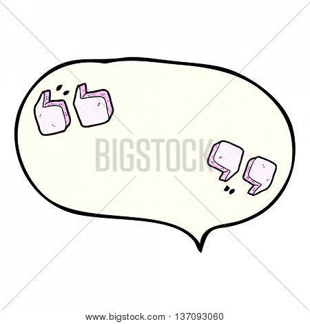 freehand drawn comic book speech bubble cartoon quotation marks