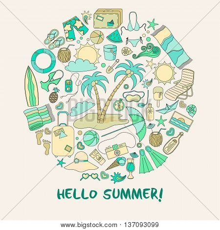 Modern Vector Illustration With Different Summer Vacation Items And Objects .