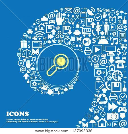 Magnifying Glass, Zoom Sign Symbol. Nice Set Of Beautiful Icons Twisted Spiral Into The Center Of On