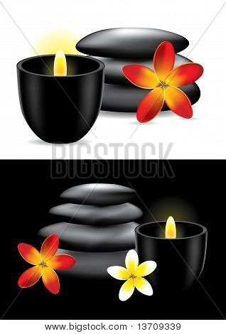 Spa Hot Stones, Flower And Candle - Vector Ilustration