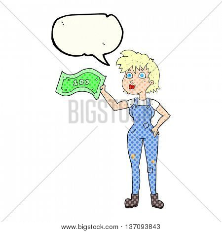 freehand drawn comic book speech bubble cartoon confident farmer woman with money
