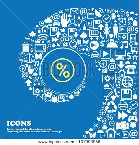 Percentage Discount Sign Symbol. Nice Set Of Beautiful Icons Twisted Spiral Into The Center Of One L