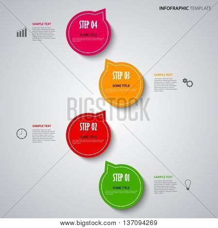 Info graphic with colored design pointers template vector eps 10