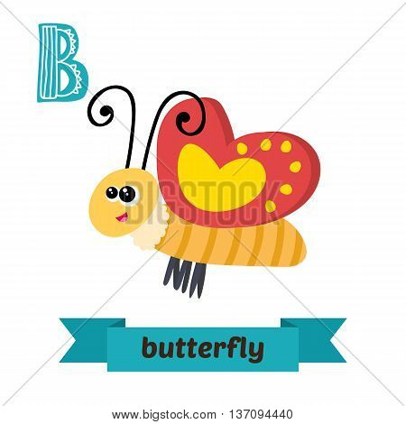 Butterfly. B Letter. Cute Children Animal Alphabet In Vector. Funny Cartoon Animals