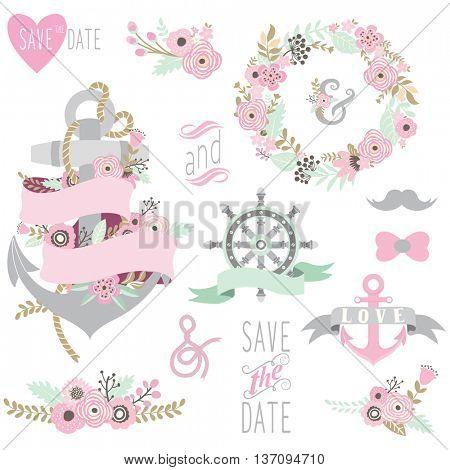 Nautical Floral Wedding Set