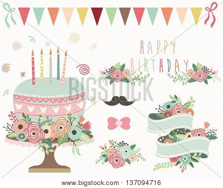 Floral Birthday Elements