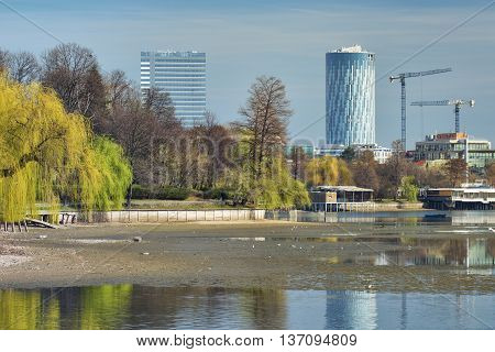 Bucharest, Romania - March 07, 2016: Bucharest Sky Tower Business Center. Bucharest urban landscape.