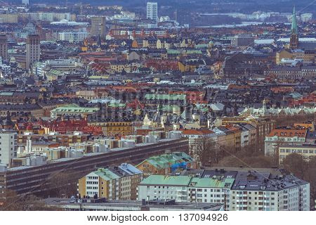 Stockholm city aerial panorama. View to old town of Stockholm city, Sweden