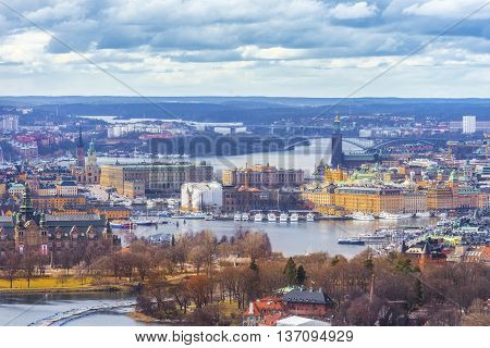 Stockholm city,  Sweden. Aerial view of the Old Town. Landscape Stockholm city panorama.