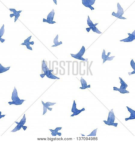 Cute small birds. Seamless pattern for fashion design. Pastel watercolor