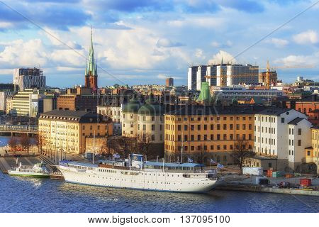 Stockholm, Sweden - March 31, 2016: Panorama of Stockholm. Scenic panorama of the Old Town (Gamla Stan) in Stockholm Sweden