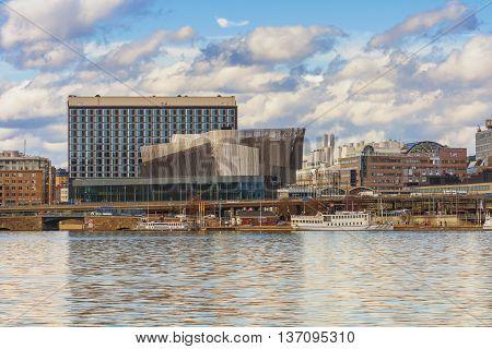 Stockholm, Sweden - March 31, 2016: Stockholm old center and the Radisson Blu Waterfront Hotel Sweden