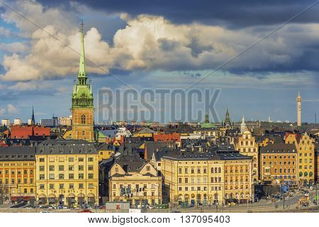 Stockholm, Sweden - March 30, 2016: Panorama of the Stockholm Old Town (Gamla Stan) Sweden