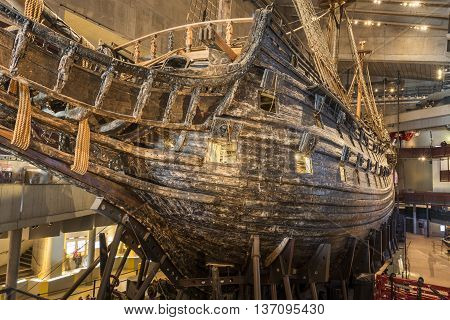 Stockholm, Sweden - April 01, 2016: The Vasa Museum is a maritime museum in Stockholm Sweden. The museum displays the only almost fully intact 17th century ship in the world