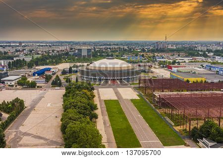 Bucharest ,Romania - June 28, 2015: Bucharest Aerial View of Romexpo arena at Sunset. Romexpo is an indoor arena in Bucharest Romania.The arena is used mostly for exhibitions but it is also used for hosting concerts and indoor sports.
