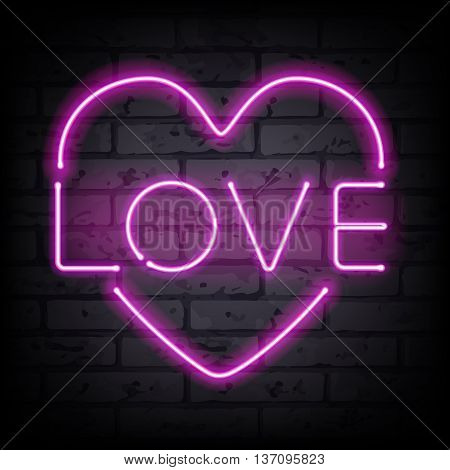 Love heart pink neon sign letters on brick wall vector illustration.