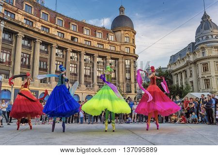 Bucharest Romania - June 10 2016: Ballerinas show at B-FIT in the Street. B-FIT is a cultural event that involves international artists and acrobats who act in theater plays on street.
