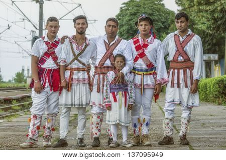 Caracal,Romania - June 19, 2016: The Calusari Folk Dance from Romania.The Calusari is a fraternal secret society who practiced a ritual acrobatic dance known as the calus.