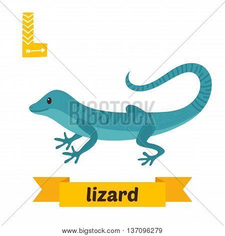 Lizard. L Letter. Cute Children Animal Alphabet In Vector. Funny Cartoon Animals