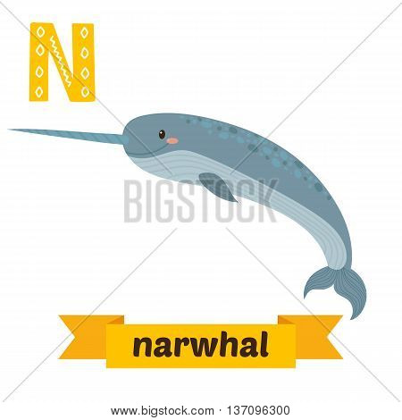 Narwhal. N Letter. Cute Children Animal Alphabet In Vector. Funny Cartoon Animals