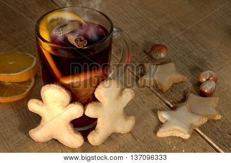 Mulled wine with spices and Christmas pastries