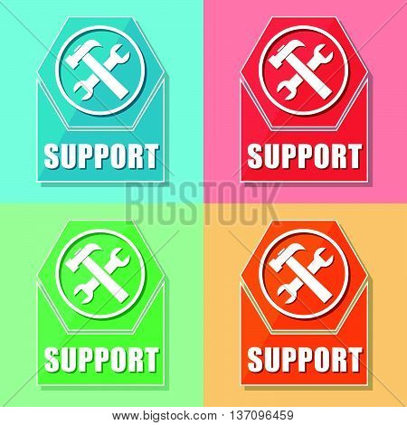 support and tools sign - four colors web icons with symbol, flat design, business service concept, vector