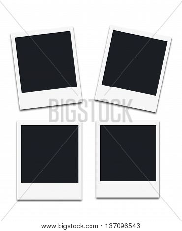 Instant photo frames isolated on white background.
