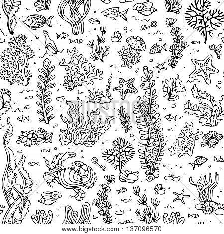 Seamless Summer Pattern Of Sea Life.