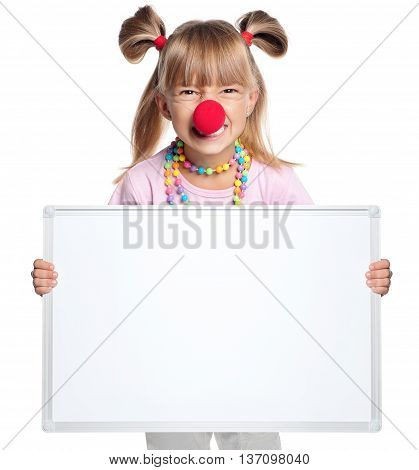 Little girl with clown nose showing white blank isolated on white background